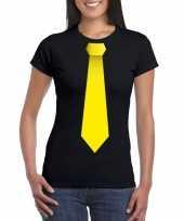 Goedkope shirt met gele stropdas zwart dames