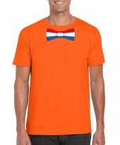 Goedkope shirt met nederland strikje oranje heren