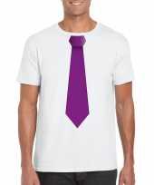 Goedkope shirt met paarse stropdas wit heren