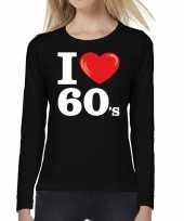 Goedkope sixties long sleeve shirt met i love 60s bedrukking zwart voor dames