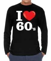 Goedkope sixties long sleeve shirt met i love 60s bedrukking zwart voor heren