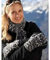 Goedkope sjaal en handschoenen met luipaard print