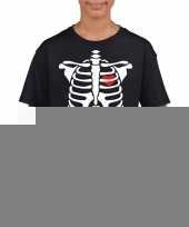 Goedkope skelet halloween t-shirt zwart voor jongens en meisjes