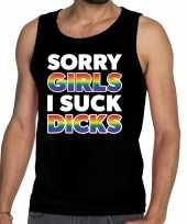 Goedkope sorry girls i suck dicks gay pride tekst fun shirt zwart heren