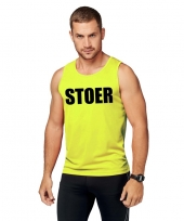 Goedkope sport-shirt met tekst stoer neon geel heren