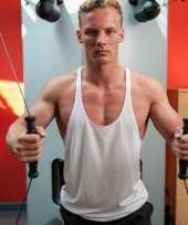 Goedkope sportkleren haltershirt voor mannen wit