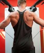 Goedkope sportkleren haltershirt voor mannen zwart