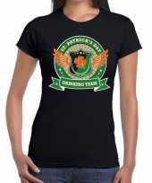 Goedkope st patrick s day drinking team t-shirt zwart dames