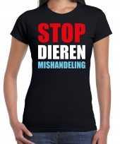 Goedkope stop dieren mishandeling protest betoging shirt zwart voor dames