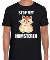Goedkope stop met hamsteren t-shirt coronavirus zwart voor heren
