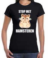 Goedkope stop met hamsteren t-shirt zwart voor dames