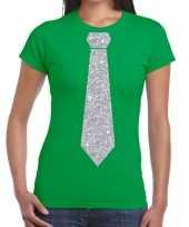 Goedkope stropdas t-shirt groen met zilveren glitter das dames