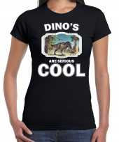 Goedkope t-shirt dinosaurs are serious cool zwart dames dinosaurussen t rex dinosaurus shirt