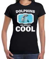 Goedkope t-shirt dolphins are serious cool zwart dames dolfijnen dolfijn shirt