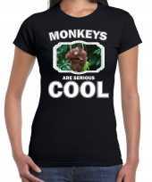 Goedkope t-shirt monkeys are serious cool zwart dames apen orang oetan shirt