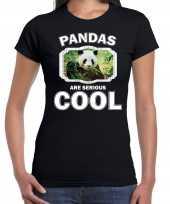 Goedkope t-shirt pandas are serious cool zwart dames pandaberen panda shirt