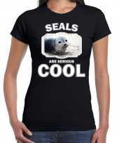 Goedkope t-shirt seals are serious cool zwart dames zeehonden grijze zeehond shirt