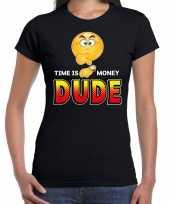 Goedkope time is money dude emoticon fun shirt dames zwart