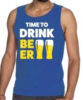 Goedkope time to drink beer fun tanktop mouwloos shirt blauw voor heren