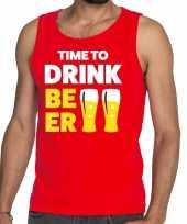Goedkope time to drink beer fun tanktop mouwloos shirt rood voor heren