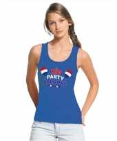 Goedkope toppers big party balloons singlet mouwloos shirt blauw dames