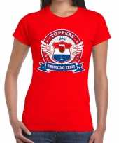 Goedkope toppers drinking team t-shirt rood dames