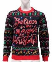 Goedkope verlichte foute kersttrui magic of christmas voor vrouwen