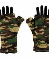 Goedkope vingerloze fleece handschoenen camouflage print voor volwassenen