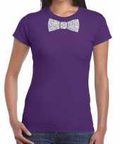 Goedkope vlinderdas t-shirt paars met zilveren glitter strikje dames