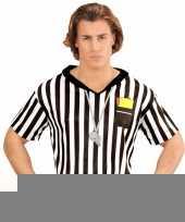 Goedkope voetbal scheidsrechter heren kostuum shirt met opdruk