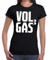 Goedkope vol gas zwarte cross t-shirt zwart voor dames