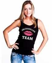 Goedkope vrijgezellenfeest team mouwloos shirt zwart voor dames