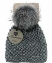Goedkope warme winter muts grijs gebreid met bonten pompon pluim voor dames volwassenen