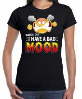 Goedkope watch out i have a bad mood emoticon fun shirt dames zwart