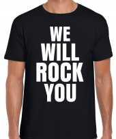 Goedkope we will rock you zwart rockmuziek tekst-shirt voor heren
