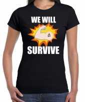 Goedkope we will survive t-shirt coronacrisis zwart voor dames