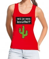 Goedkope wil je een knuffel fun tanktop mouwloos shirt rood voor dames