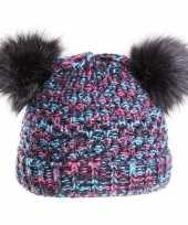 Goedkope wintermuts gebreid met pompons voor meisjes 10132377