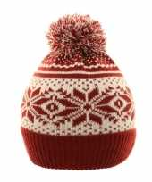 Goedkope wintermuts nordic print rood wit voor meisjes