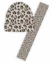Goedkope wintersetje sjaal en muts beige panter luipaard print voor meisjes