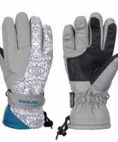 Goedkope wintersport starling mirre handschoenen voor kinderen grijs wit petrol
