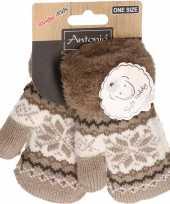 Goedkope wit bruin gebreide handschoenen met noorse print voor peuters