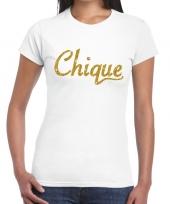 Goedkope wit chique goud fun t-shirt voor dames