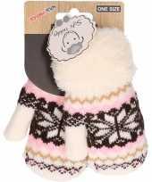 Goedkope wit roze bruin gebreide handschoenen met noorse print voor peuters