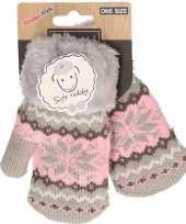 Goedkope wit roze gebreide handschoenen met noorse print voor peuters