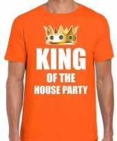 Goedkope woningsdag king of the house party t-shirts voor thuisblijvers tijdens koningsdag oranje heren