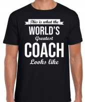 Goedkope worlds greatest coach kado shirt als bedankje voor een coach zwart heren