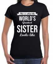 Goedkope worlds greatest sister kado shirt voor zusjes zwart dames