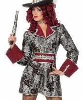 Goedkope zilver met rode piraten dames jas