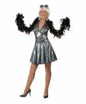 Goedkope zilveren disco seventies rok met-shirt voor dames